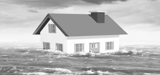 Haus steht im Hochwasser