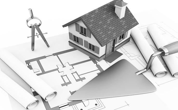 Hausmodell auf Bauplan